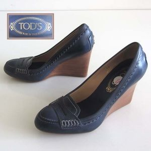 53cbde131 TOD'S powder blue penny wedge loafer pumps 6 US 36